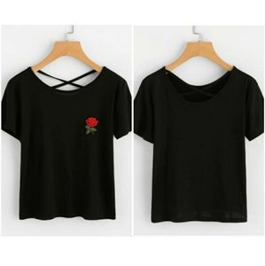 Rose embroidered patch criss cross back tee /Black